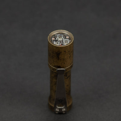 Flashlight - Pre-Order: Deadwood Customs Huckleberry - Distressed Patina Finish Brass (Pre-Order Ends 6/21, Ships Early September)