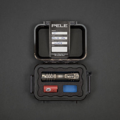 Flashlight - Pre-Owned: CWF & Ti2 Design Pele Flashlight - Titanium W/ Blue Dragon Driver (Custom)