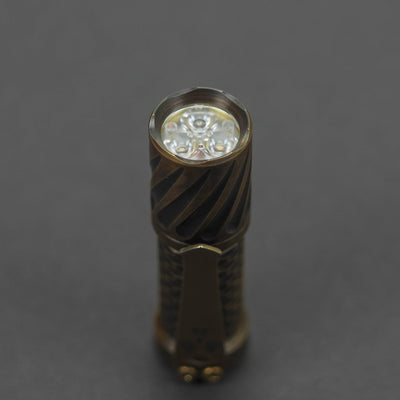 Flashlight - Pre-Owned: Hanko Machine Works Trident Flashlight - Gunner Grip / Antiqued Brass (Custom)