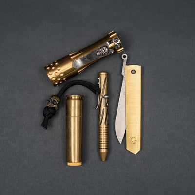Flashlight - Pre-Owned: Laulima Metal Craft Malihini Flashlight - Brass With Steelflame Darkness Clip (Custom)
