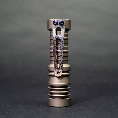 Flashlight - Pre-Owned: McGizmo Haiku - Bead Blasted Titanium W/ Flamed Ice Clip (Custom)