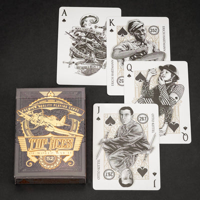 Game - Black Ink Playing Cards - Top Aces Of WWII - Standard