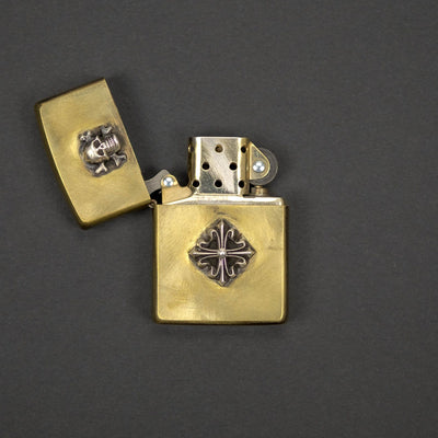 General Store - Pre-Owned: Lion Armory Skull & Shield Zippo Lighter - Brushed Brass