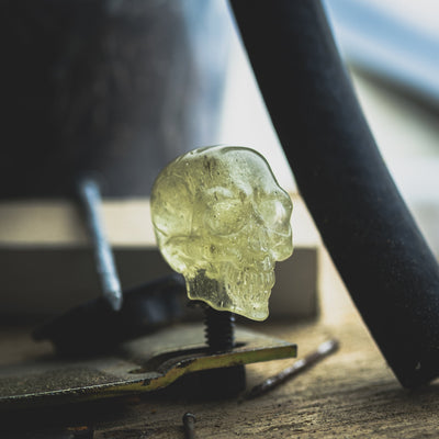 General Store - Pre-Owned: Mercurious Designs Carved Green Crystal Skull (Custom)
