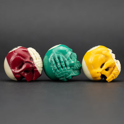 General Store - Pre-Owned: Mercurious Designs Carved Pool Ball Set - Hear No Evil, Speak No Evil, See No Evil (Custom)