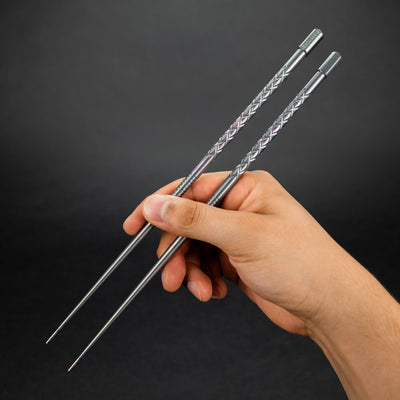 General Store - TiConnector Travel Chopsticks - Diamond Engraved Titanium