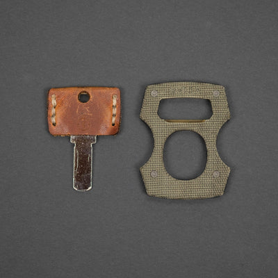Keychains & Multi-Tools - Pre-Owned: Burnley Designs Contra Cypop - OD Green Canvas Micarta & Brass