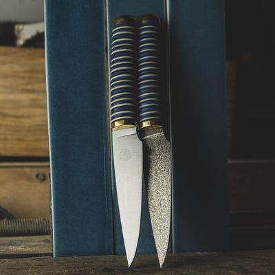 Kitchen - Florentine Kitchen Knives F4 Paring Knife - Blue/Black/Ivory Stacked Handle (Custom)
