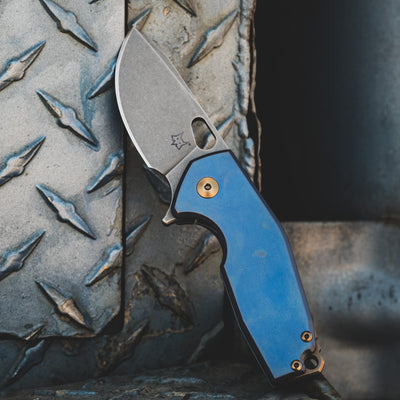 Knife - Fox Knives Vox Suru - Blue Titanium W/ Ti Bronze Hardware, Acid Etched Blade (Exclusive)