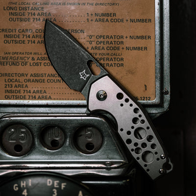 Knife - Fox Knives Vox Suru - Sandblasted Titanium W/ Holes, Acid Etched Blade (Exclusive)
