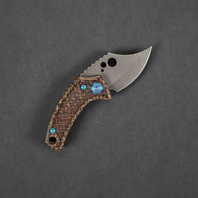 Knife - Pre-Owned: Koch Tools Wasp Friction Folder - Burlap Micarta (Custom)