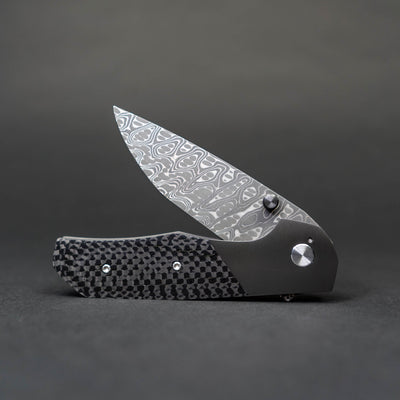 Knife - Pre-Owned: Kody Eutsler Equalizer - Damascus Chisel Grind, Zirconium / Carbon Fiber  (Custom)