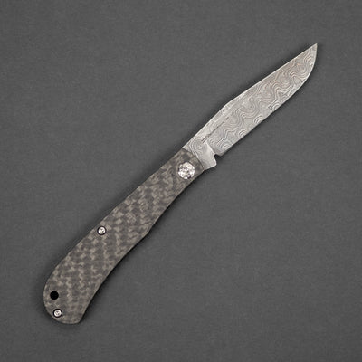 Knife - Swan Knives Slipjoint - Carbon Fiber & Raindrop Damascus (Custom)