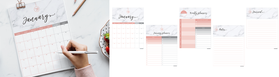 2019 Marble & Blush FREE Printable Calendar preview