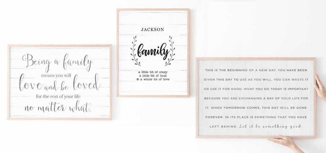 farmhouse rustic family quotes in a gallery wall