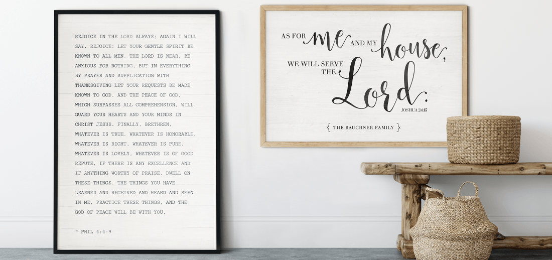 favorite passage from the Bible and scripture turned into custom wall art for your farmhouse decor