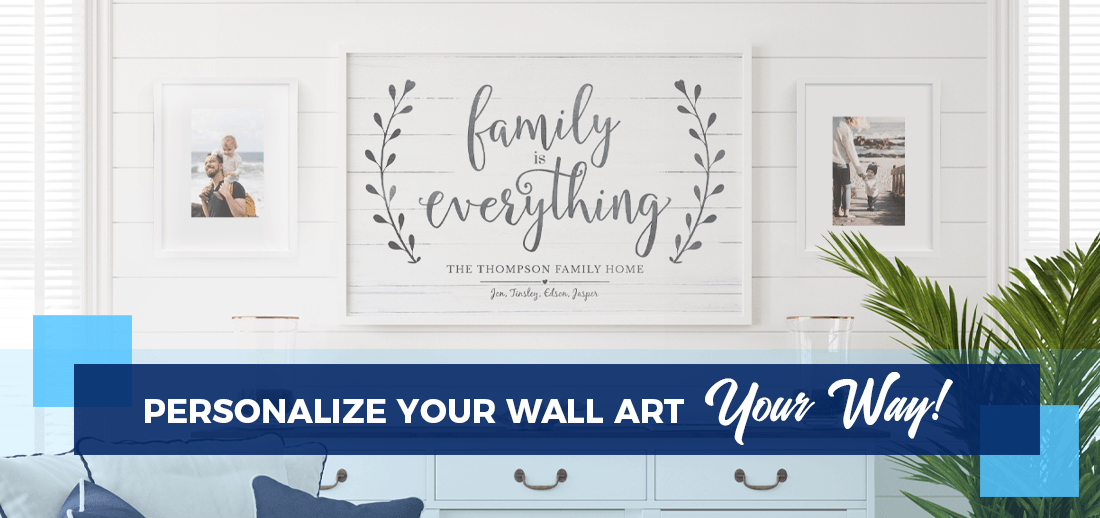 Personalize Your Prints Your Way - a modern farmhouse coastal home with a family photo gallery wall