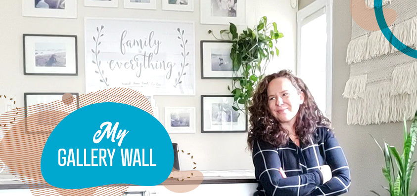 Anna in her dining room in front of the gallery wall - blog post titled my gallery wall