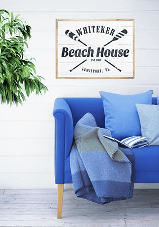 Beach House Personalized Print in a beautiful cottage room