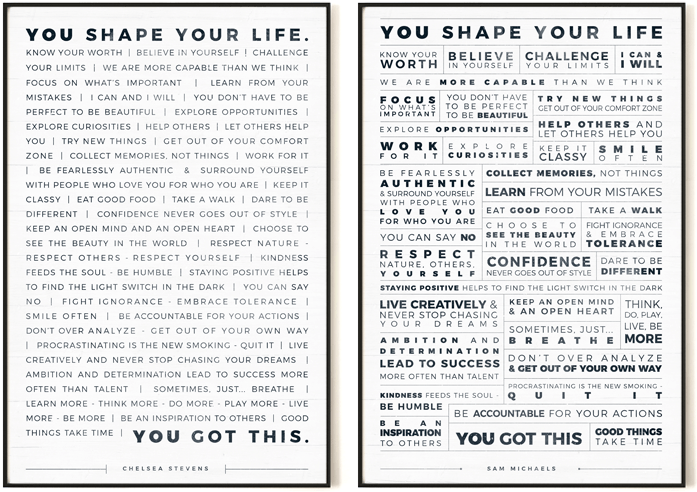Manifesto Personalized Prints in a modern gallery