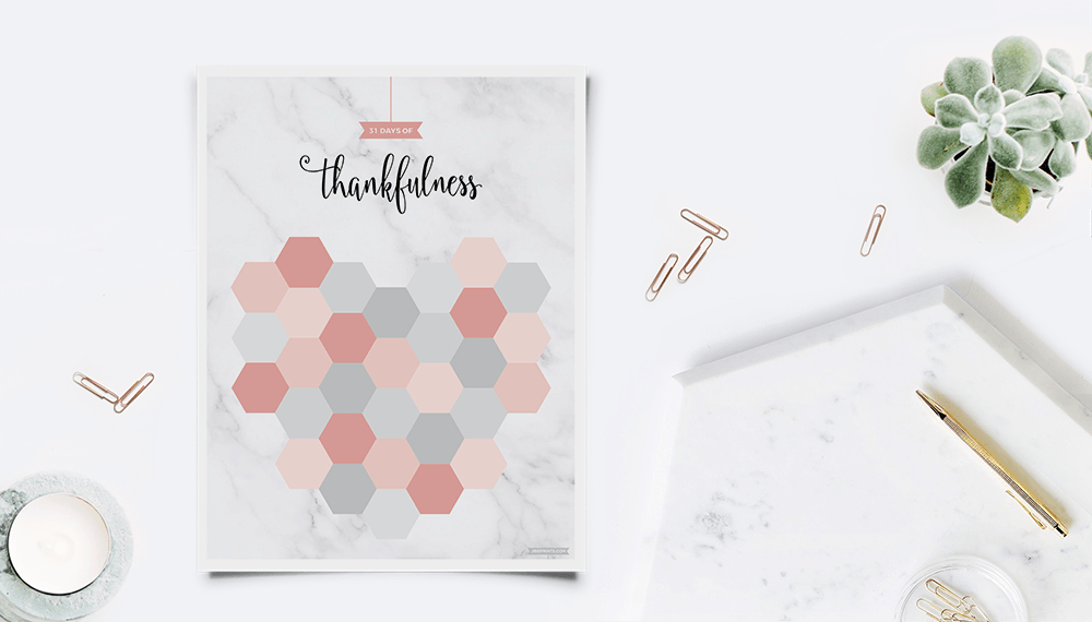 31 Days To Be Thankful Free Printable in a modern workspace