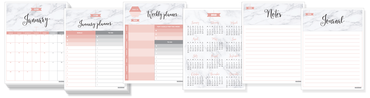 All 28 pages of the 2018 free printable calendar package: monthly calendar pages, monthly planner pages, weekly planner, 2018 grid calendar page, journal and notes pages.