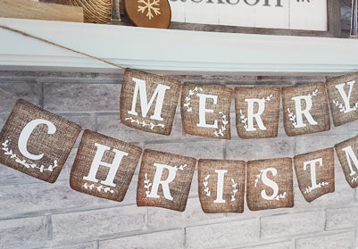 Merry Christmast DIY Banner - a quick and fun project! FREE printable!