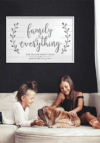 Family Is Everything Personalized Print in a family room setting on a black wall