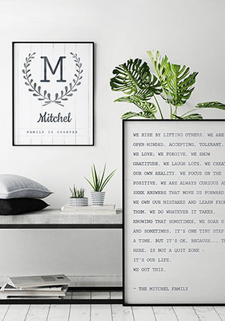 Family Manifesto Personalized Print and Family Is Forever Personalized Print in a minimalist neutral room