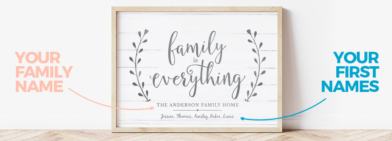 Family Is Everything Personalized Print displayed in a rustic frame and showing where the first names and the family name goes on the print