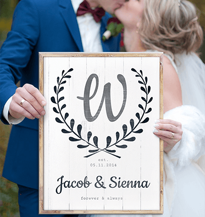 Forever & Always Personalized Print in wedding day photoshoot