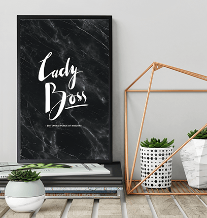 Lady Boss Personalized Print in a beautiful modern workspace