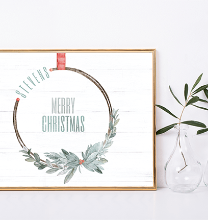 Merry Wreath personalized Christmas print in a minimalist room