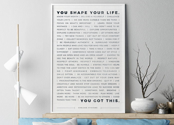 Manifesto Personalized Print in a modern apartment