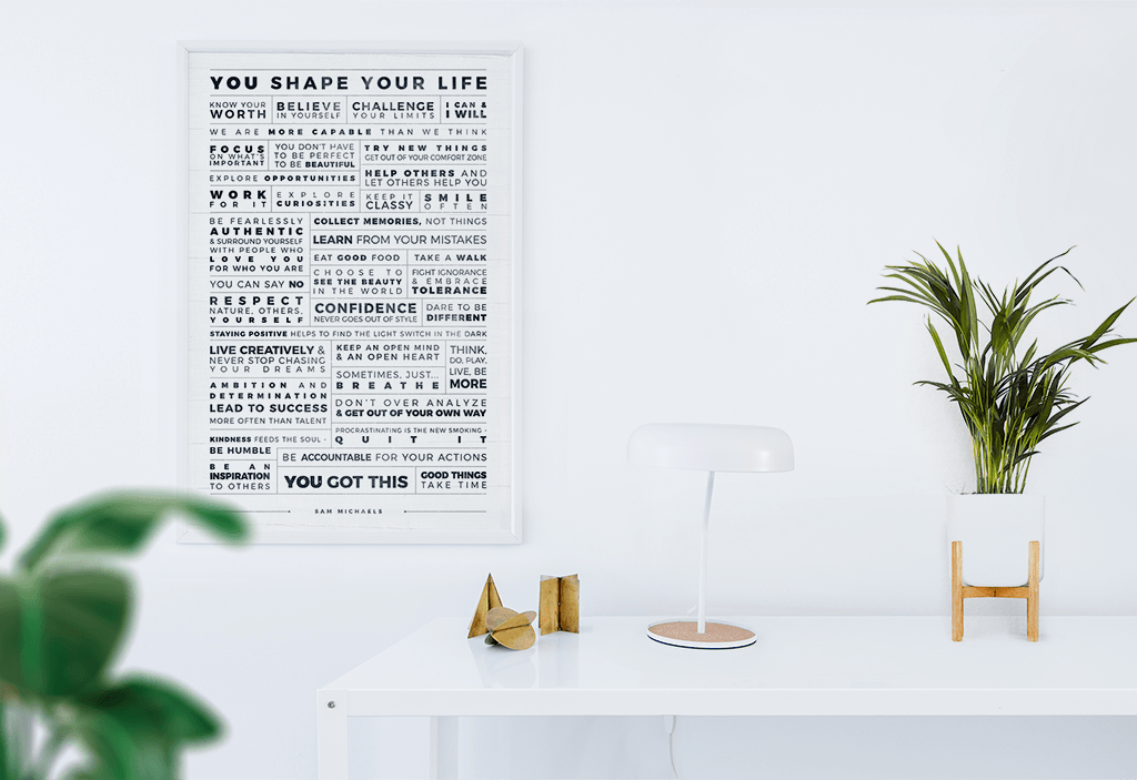 Personal Manifesto Grip personalized print in a modern boho style room