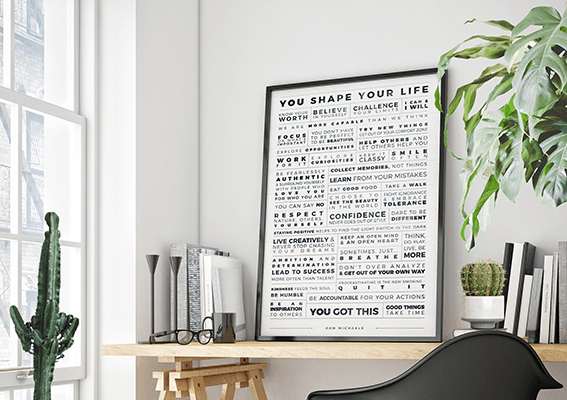Personal Manifesto Grid personalized print in a modern workspace