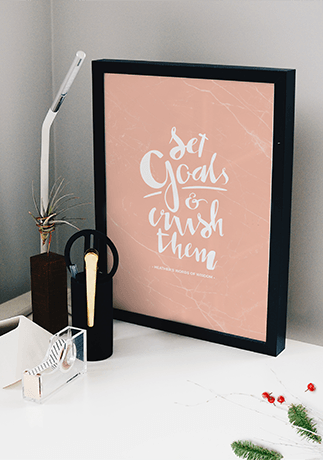 Set Goals And Crush Them personalized print on a clean modern desk