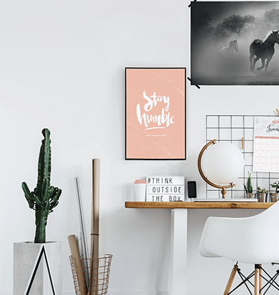 Stay Humble Personalized Print in Blush Marble in a modern workspace