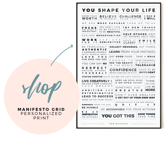 Shop Manifesto Grid Personalized Print
