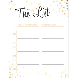 Holiday Gift List - Free Printable Available For Download Now!