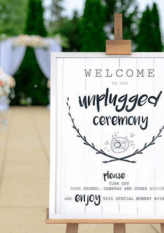 Unplugged Ceremony print at an outdoor wedding