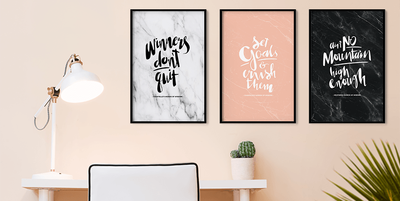 Winners Don't Quit, Set Goals and Crush Them, Ain't No Mountain High Enough - 3 personalized prints in a modern, blush workspace