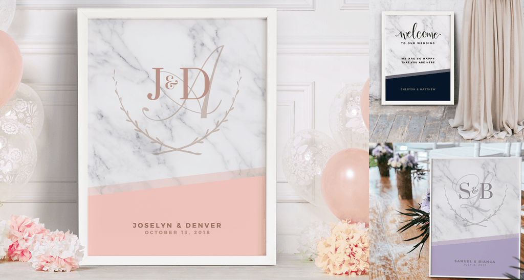Blush and Marble wedding personalized prints *NEW for 2018* in the Weddings Collection