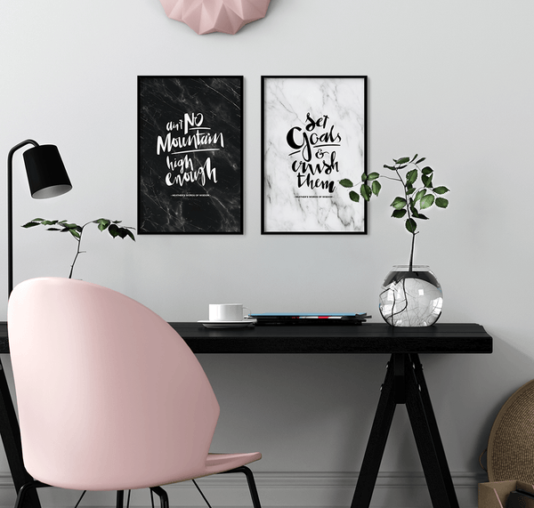 Set Goals & Crush Them Personalized Print in a modern pink workspace