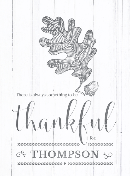 close up view of the Always Thankful personalized print