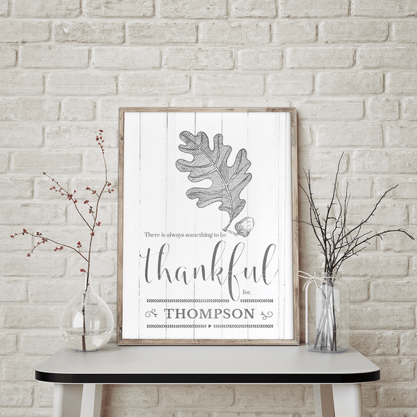 rustic room with a framed Always Thankful personalized print