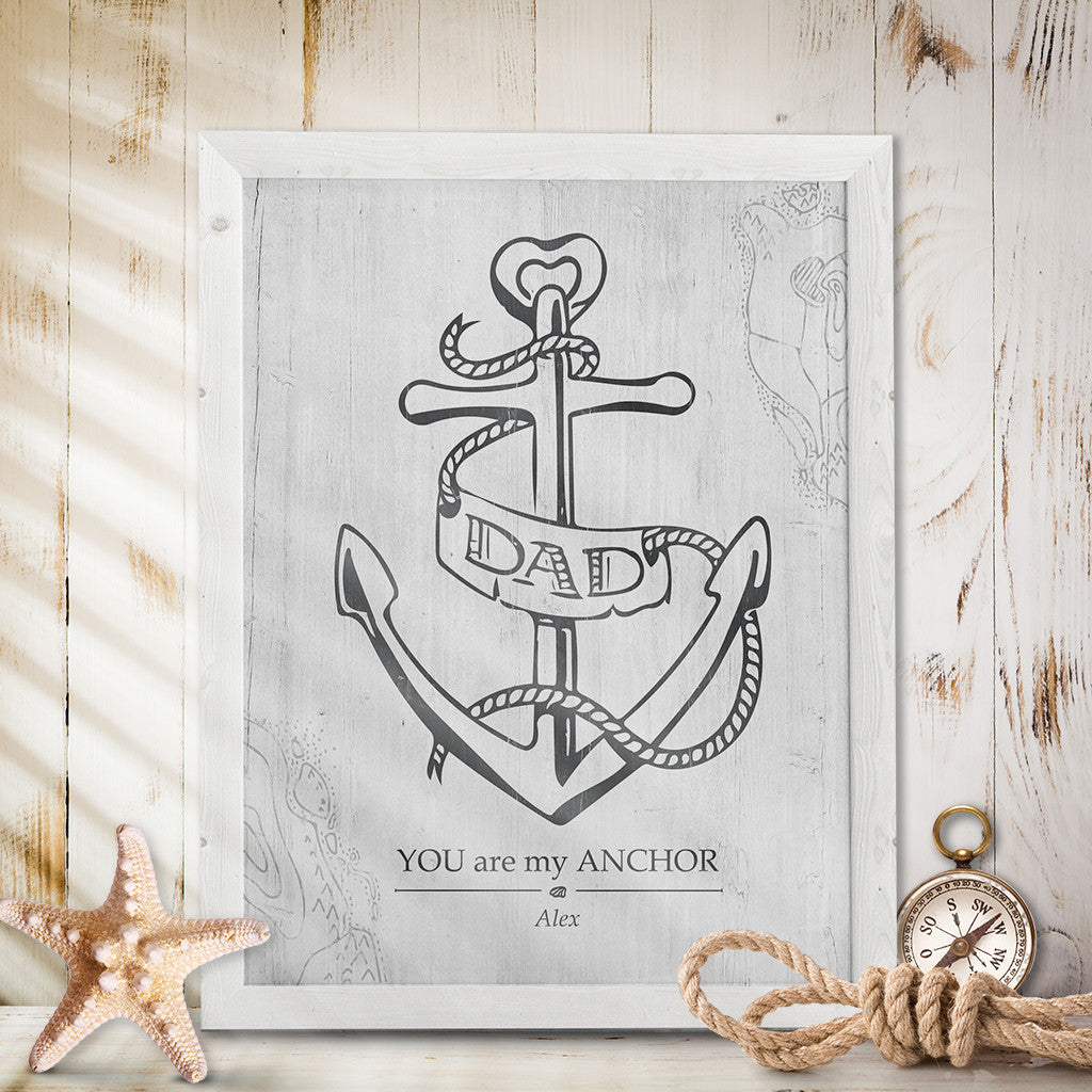 "Print with a hand drawn anchor with ""dad banner"" wrapped around it. The caption says ""you are my anchor"". Personalize it with your name."