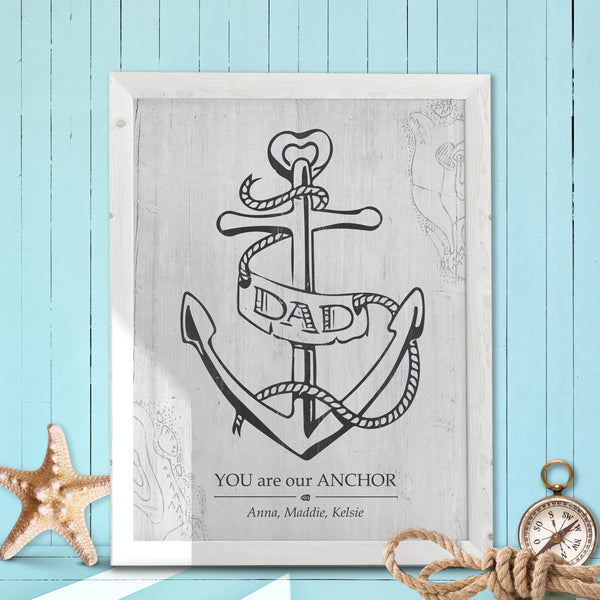 "Print with a hand drawn anchor with ""dad banner"" wrapped around it. The caption says ""you are our anchor"". Personalize it with your names."