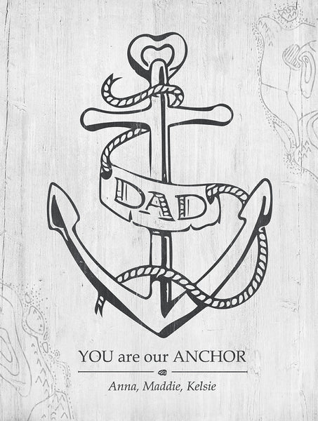 Close up of Dad, Your Are Our Anchor print. Black and White. Personalize it with your names.