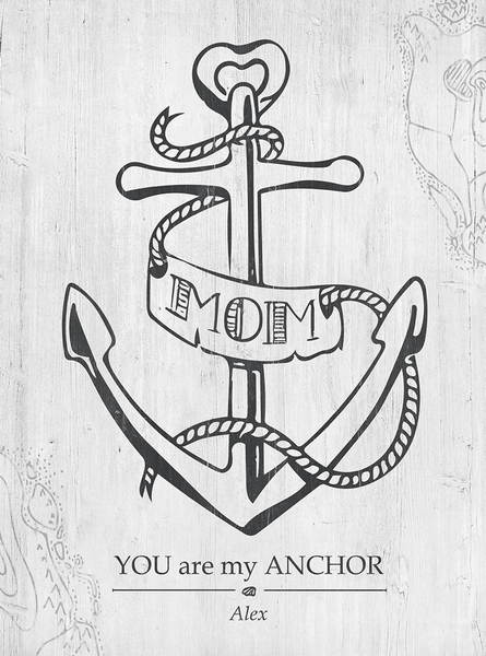 Closer view of the Mom You Are My Anchor print